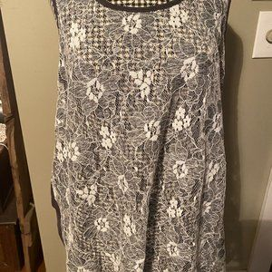 FOREVER 21 Gray White Lace sheer tank top 2X